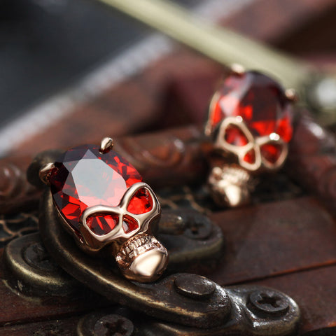 Red/Black Zircon Skull Stud Earrings