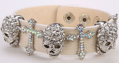 Leather Rhinestone Skull Bracelet