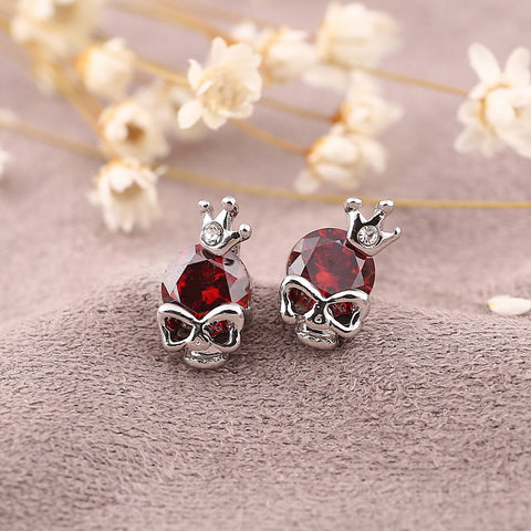 Red Gemstone Skull Earrings