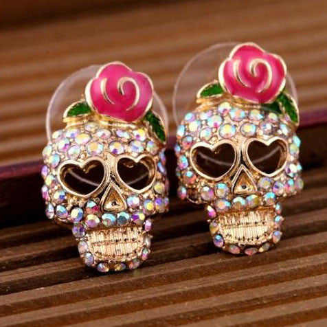 Diamond Skull Roses Stud Earring