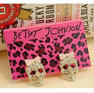 Fashion Bow Skull Stud Earrings