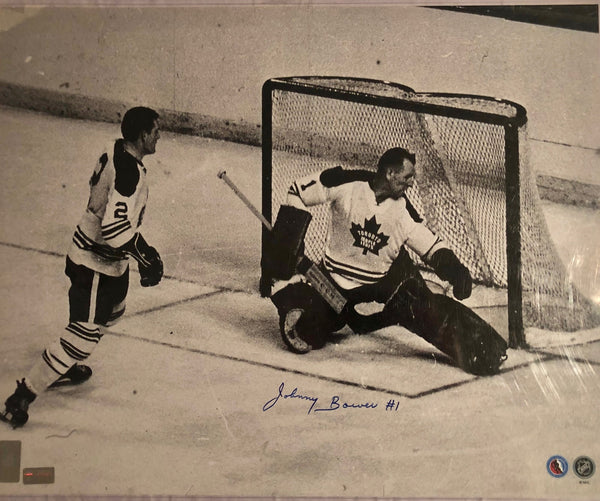 Johnny Bower Toronto Maple Leafs Black and White