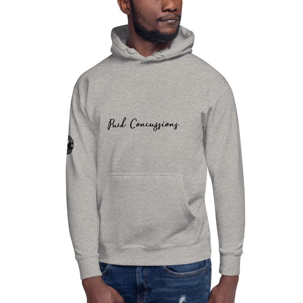 PUCK CONCUSSIONS Script Unisex Athletic Grey Hoodie