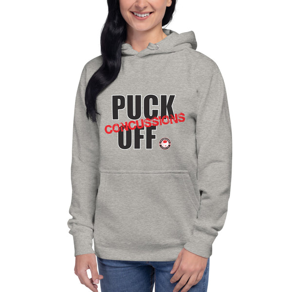 PUCK OFF CONCUSSIONS Unisex Athletic Grey Hoodie