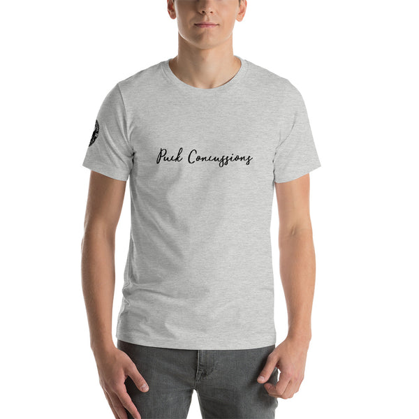 PUCK CONCUSSIONS SCRIPT ATHLETIC GREY Short-Sleeve Unisex T-Shirt
