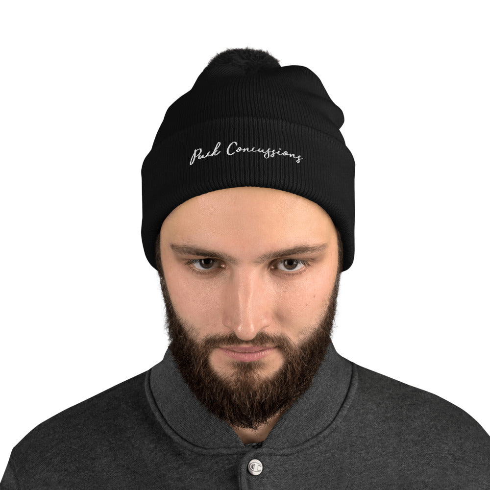 PUCK CONCUSSIONS Pom-Pom Beanie