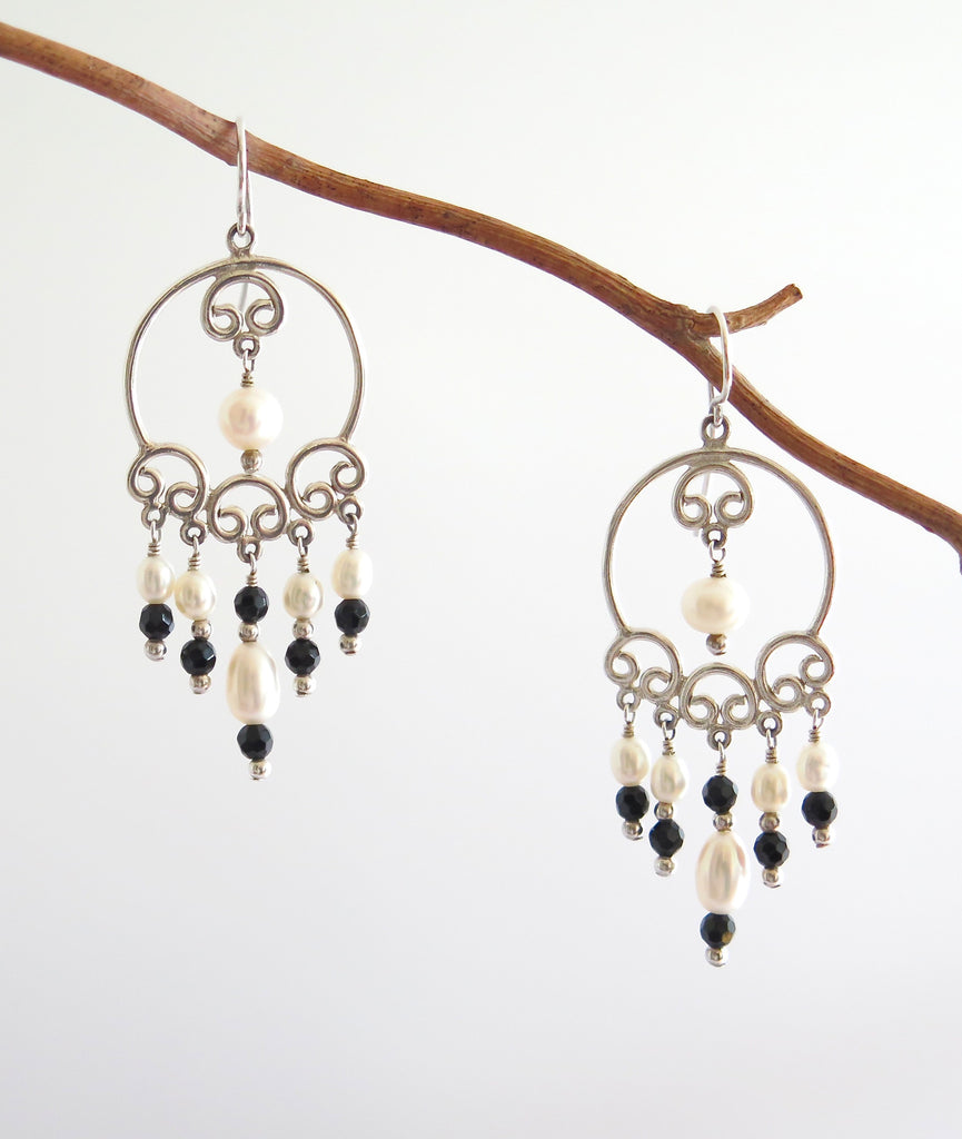 Silver Chandelier Earrings with Freshwater Pearls and Black Agate