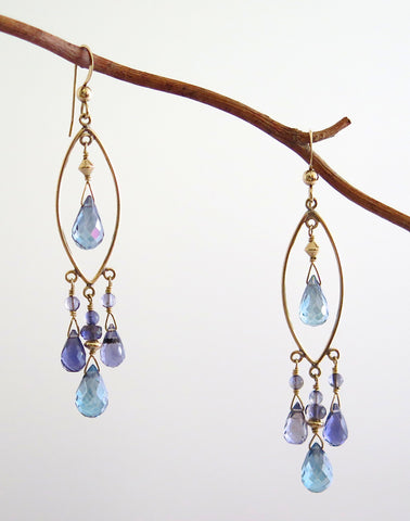 Gold Filled Chandelier Earrings with Blue Topaz and Iolite