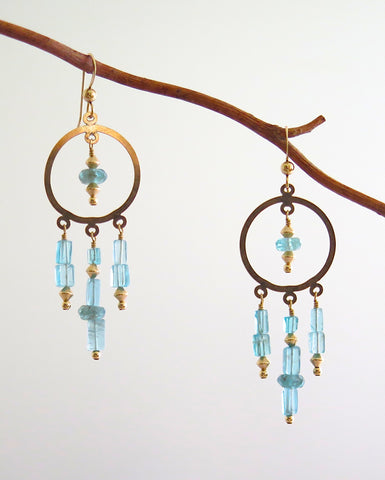 Gold Filled Hoops Chandelier Earrings with Apatite