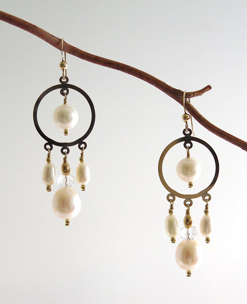 Gold Filled Chandelier Earrings with Freshwater Pearls and Crystal Quartz
