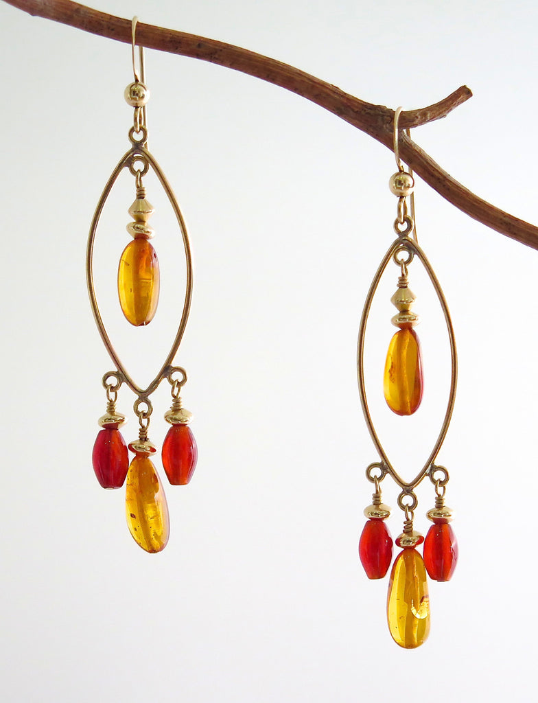 Gold-filled Chandelier Earrings with Amber and Carnelian