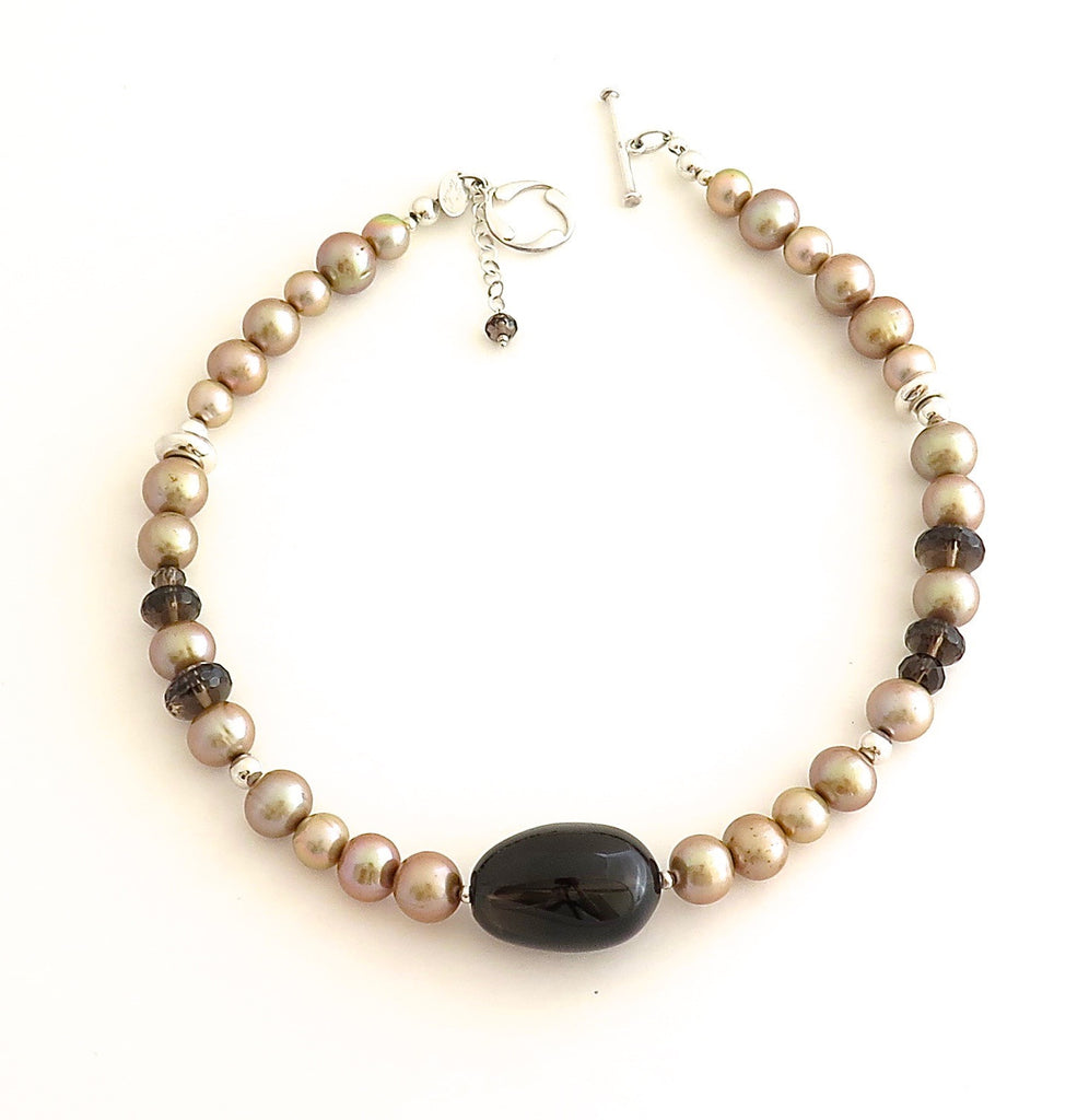 Short Necklace with Champagne Freshwater Pearls, Smokey Quartz and Hill Tribe silver