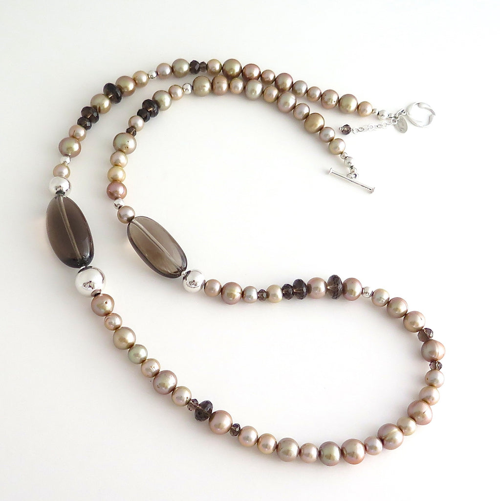 Long Necklace with Champagne Freshwater Pearls, Smokey Quartz and Hill Tribe Silver
