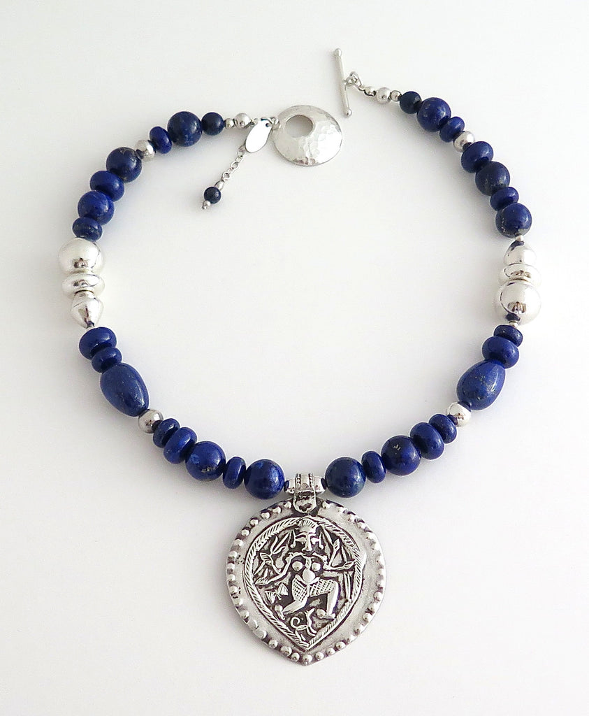 Short Necklace with Vintage Shiva Silver Amulet, Lapis Lazuli and Hill Tribe Silver