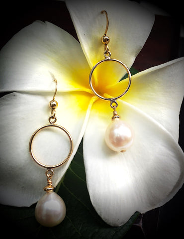 Gold-filled Circle Earrings with Freshwater Pearls