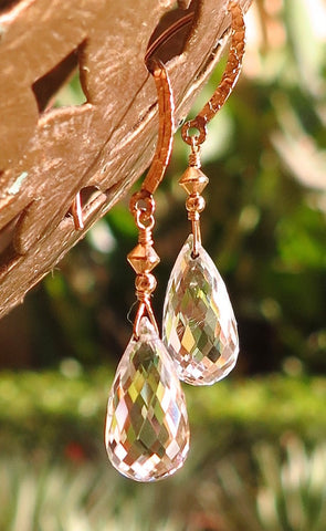 Gold Filled Earrings with Faceted Crystal Quartz