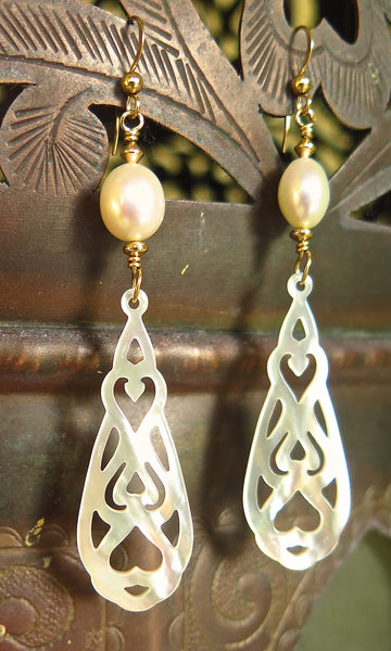 Gold Filled Drop Earrings with Freshwater Pearls and Mother of Pearl