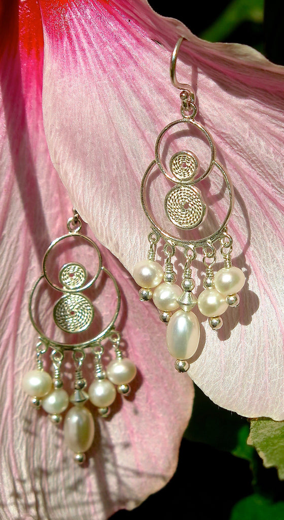 Hill Tribe Silver Filigree Chandelier Earrings with Freshwater Pearls
