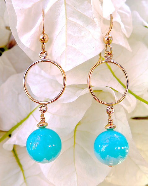 Gold Filled Circle Earrings with Amazonite