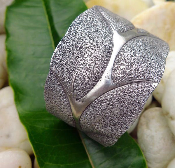 Hill Tribe Silver Cuff from Northern Thailand (Leaf Design)
