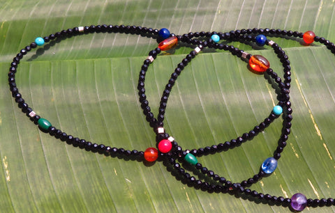 Long Necklace with Faceted Black Agate, Turquoise, Amethyst, Bamboo Coral, Lapis Lazuli, Malachite, Peridot, Kyanite, Amber and Silver