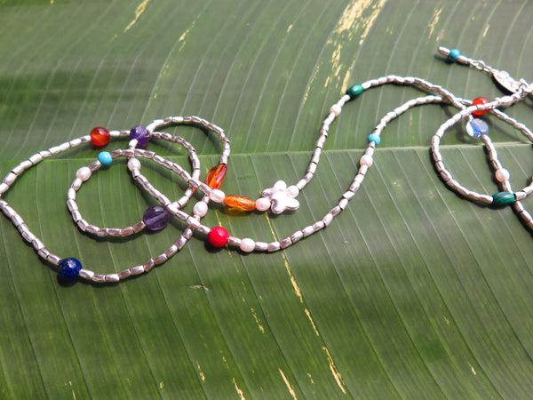 Long Necklace with Hill Tribe Silver beads, Turquoise, Amethyst, Agate, Bamboo Coral, Lapis Lazuli, Malachite, Peridot, Kyanite and Amber