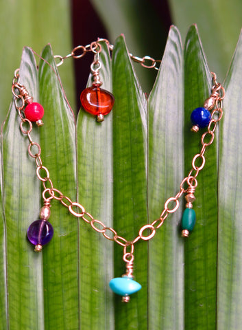 Gold-filled Chain Bracelet with Turquoise, Amethyst, Bamboo Coral, Lapis Lazuli, Malachite and Amber Charms