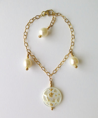 Gold-filled Chain Bracelet with Mother of Pearl and Freshwater Pearls