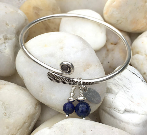Hill Tribe Silver Bangle with Lapis Lazuli Charms