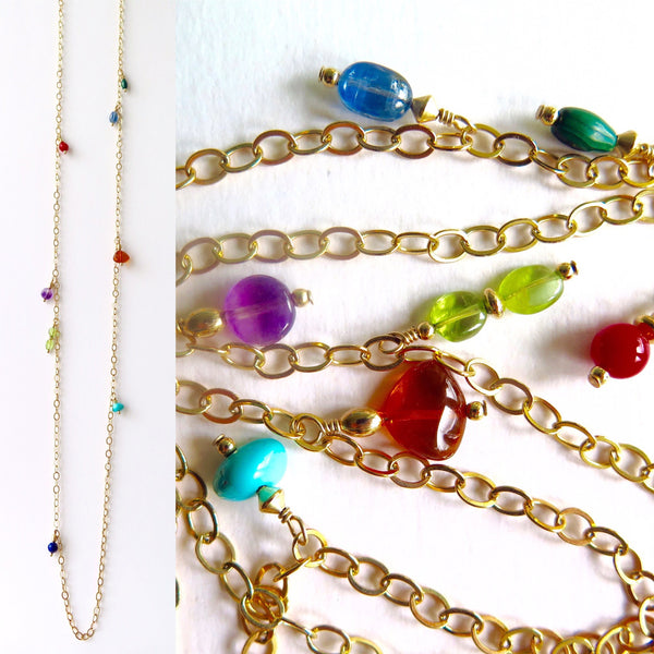 Long Gold-filled Chain Necklace with Turquoise, Amethyst, Bamboo Coral, Lapis Lazuli, Malachite, Peridot, Kyanite and Amber Charms