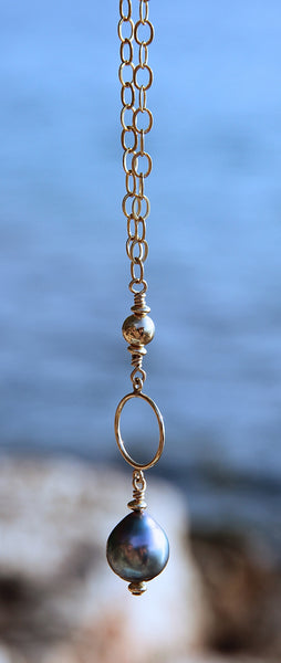 Long Gold Filled Chain Necklace with Tahiti Pearl