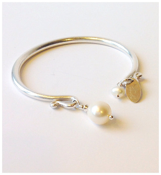 Hill Tribe Silver Bangle with Freshwater Pearls