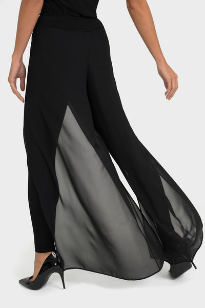 Black chiffon trousers