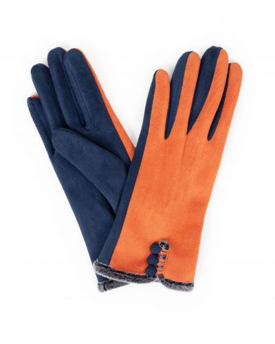 orange faux suede gloves