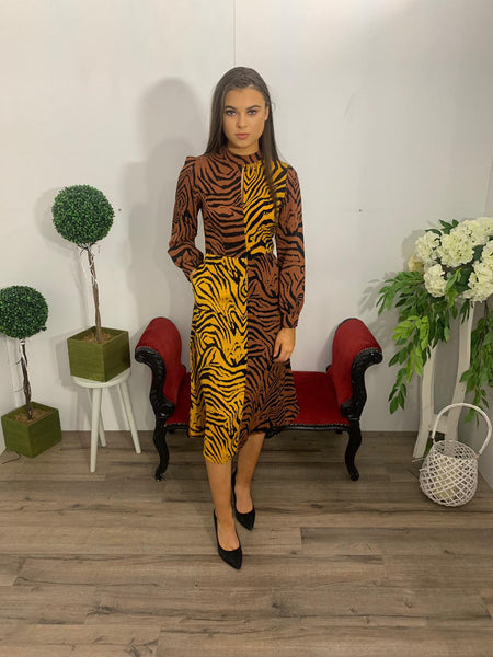 Leopard brown and mustard dress