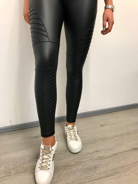 Biker leatherette leggins