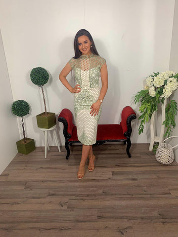 Sonia pena green/ cream crochet dress