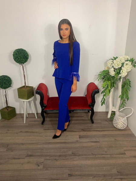 Royal blue daisy may trousers suit