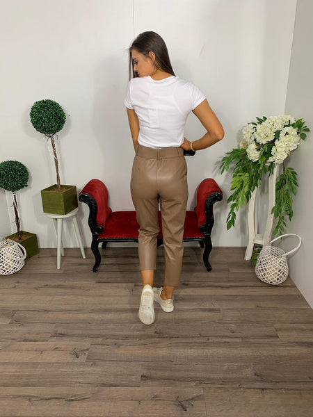 High waisted tan pvc