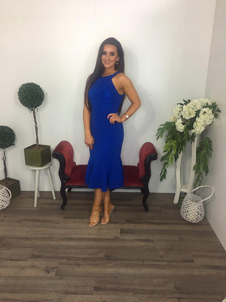 blue fitted R and R dress