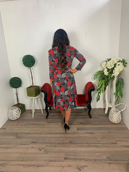 Pomodora leaf print dress