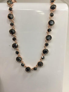 Absolute black and rose gold necklace