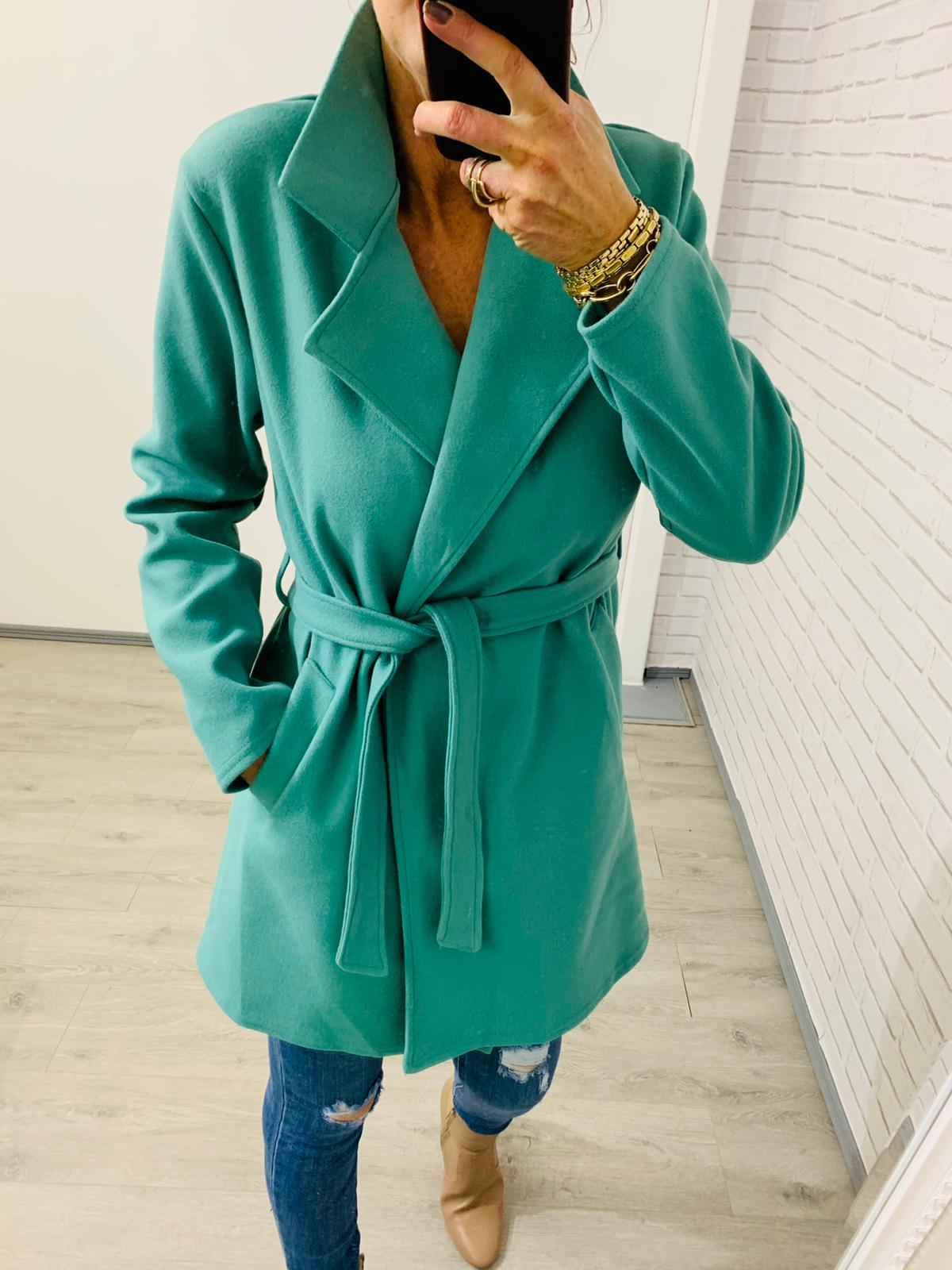 Green wrap coat