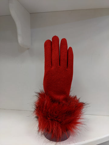 Red glove with fur cuff