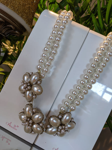 Absolute double pearl necklace