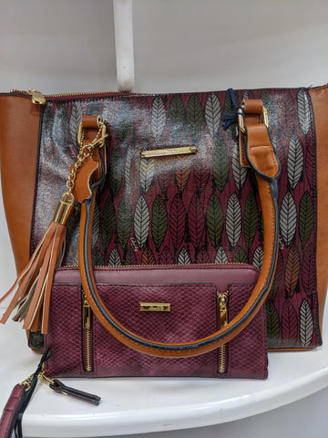 Burgundy and tan shoulder bag