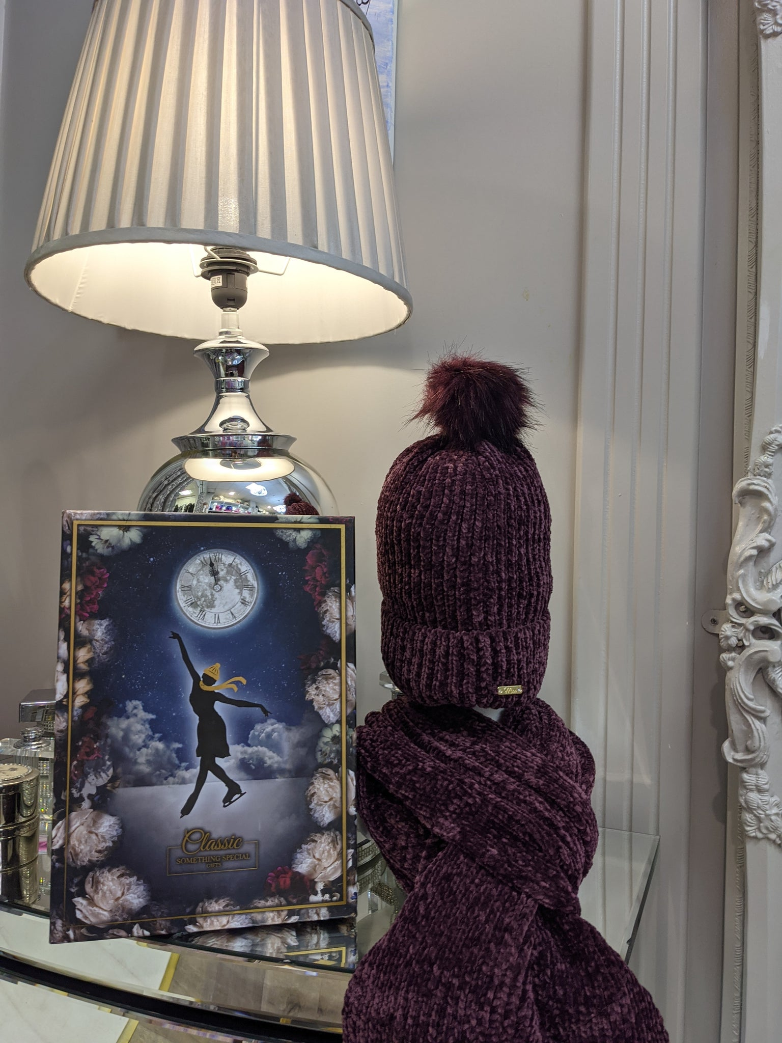 Burgundy hat and long scarf