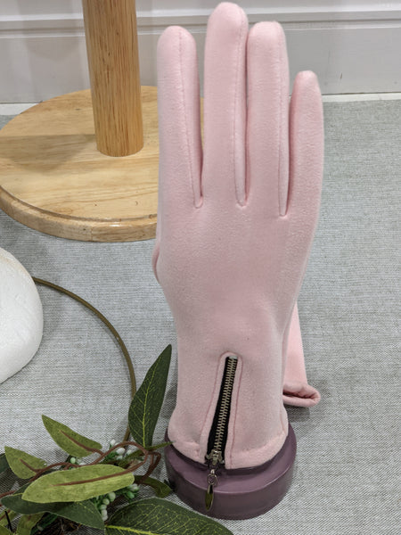 Soft pink  suedette gloves