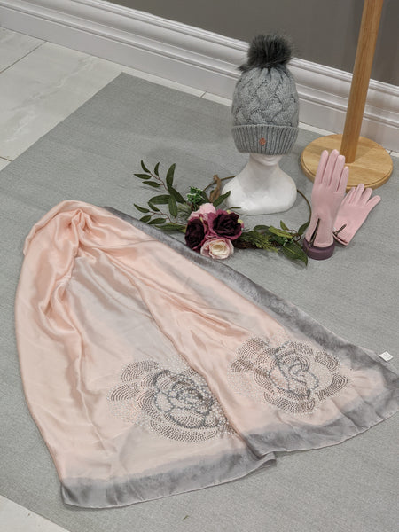 Soft pink silk like scarf