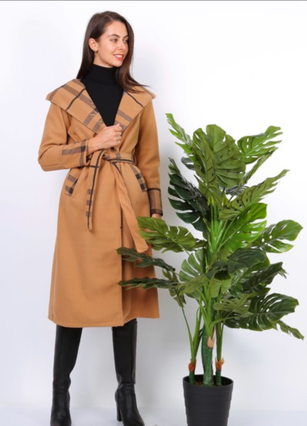 Tan trench coat